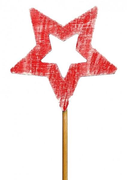 Beistecker Stern Holz rot 6cm (200 Stück)