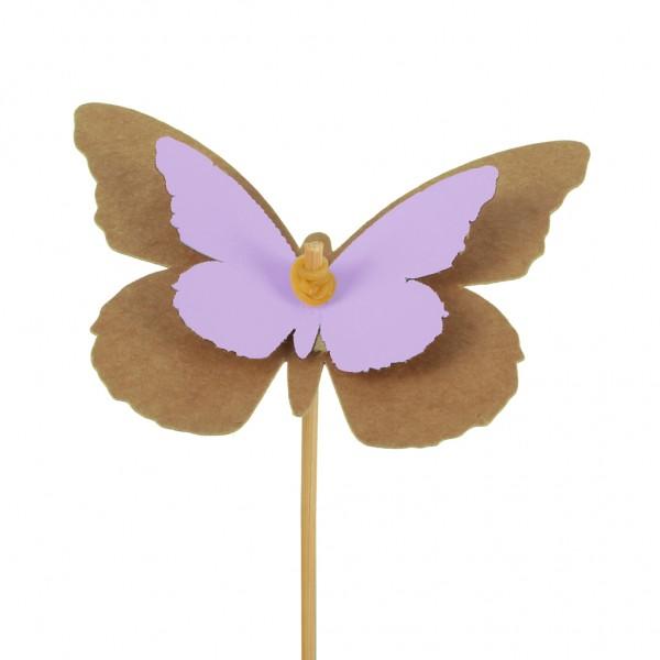 Beistecker Schmetterling Kraftpapier 7x9cm lila (25 Stück)