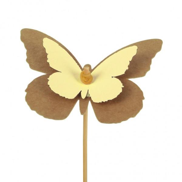 Beistecker Schmetterling Kraftpapier 7x9cm gelb (25 Stück)