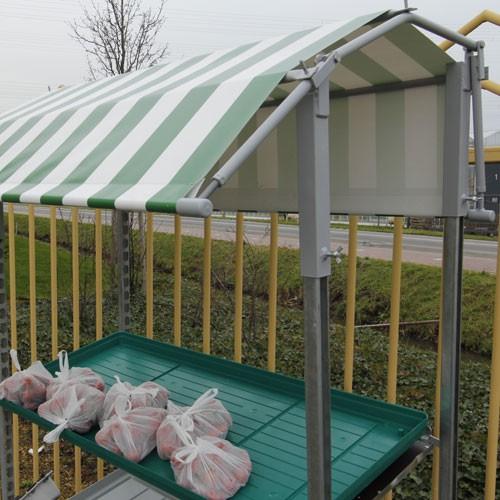 PVC-Dach rot-weiß / Giebel klappbar für DC-Pflanzenwagen