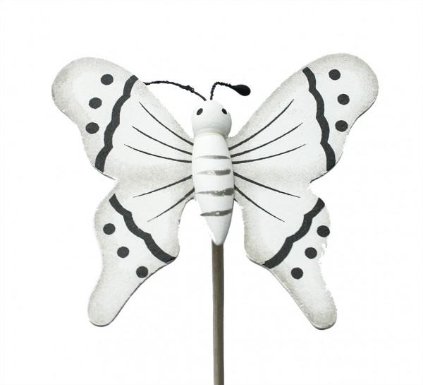 Beistecker Schmetterling auf Stock 7/50cm weiß 25 Stück