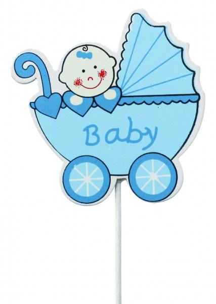 Beistecker Kinderwagen mit Baby blau (8 Stück)